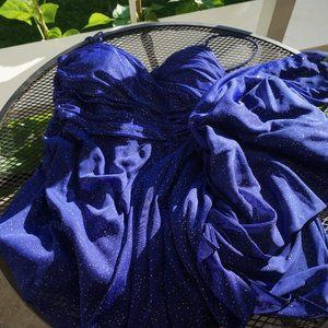 Le Chateau Celestial Indigo and Gold Evening Gown
